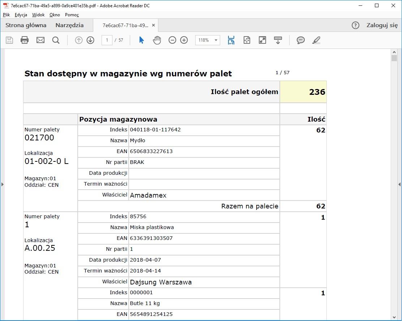 system WMS raport stanów magazynowych